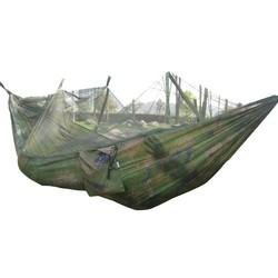 MyXL Draagbare Gevouwen 300 kg Maximale Belasting Reizen Jungle Camping Outdoor Hangmat Opknoping Nylon Bed + Klamboe Legergroen/Camo