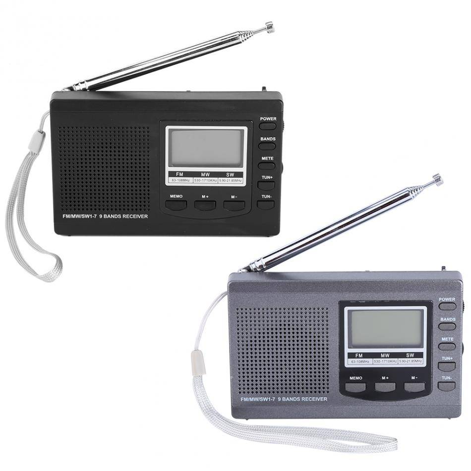 Draagbare Mini Radio FM-MW-SW Ontvanger met Digitale Wekker FM Radio OntvangerCollectie Radio