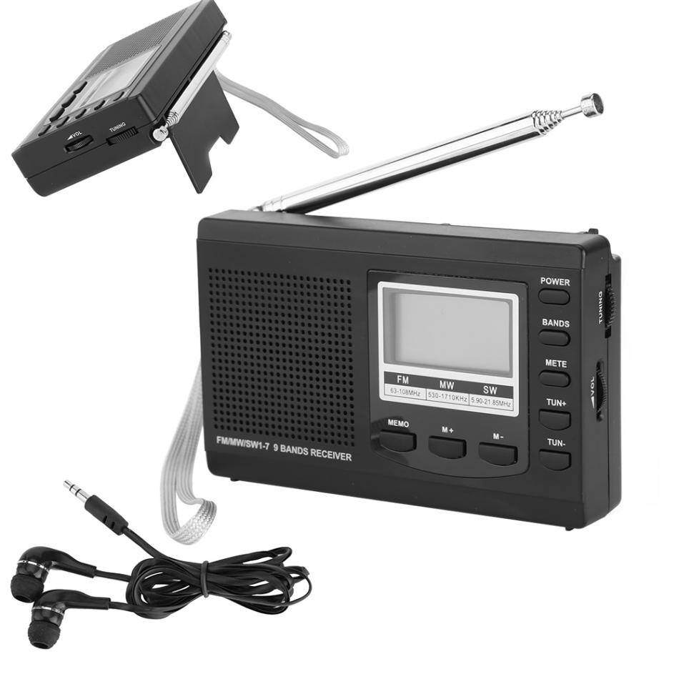 Mini Radio FM-MW-SW Ontvanger Multifunctionele Portable Met Digitale Scherm Wekker FM Stereo Radio R