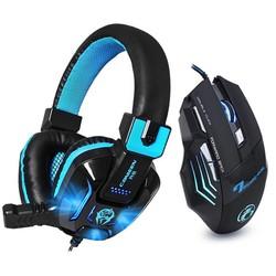MyXL Hifi Stereo Bass Gaming Hoofdtelefoon Ruisonderdrukkende met Mic LED Light Game Headset + 7 Knoppen 5500 DPI Pro Gaming muis