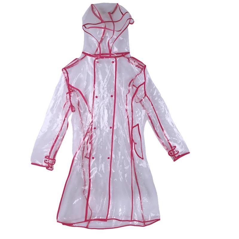 MyXL Vrouwen Transparante Waterdichte Hooded knielange Kleurrijke Rand Regenjas Vrouwen Jas Waterdicht Windscherm Outdoors Regenkleding