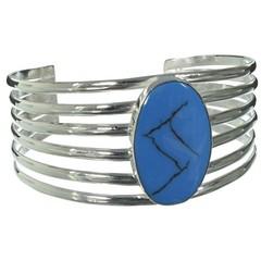 Silbernes Armband, blauer Stein