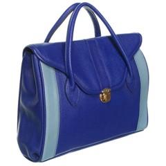 Leder Handtasche blau