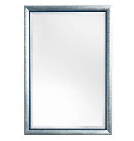 Atessa - spiegel met moderne zilver met blauwe kader