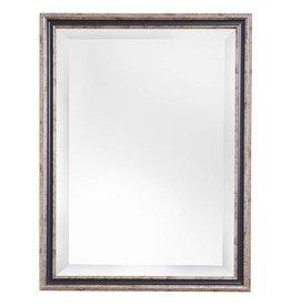 Varzi - spiegel met zilveren kader met donker blauwe rand