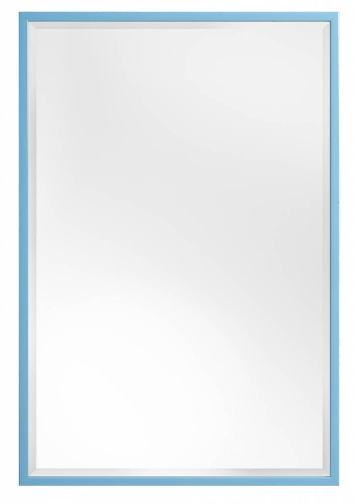 Levie betaalbare spiegel met smalle blauwe kader