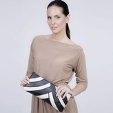 Riza Clutch Banded Brown Cream