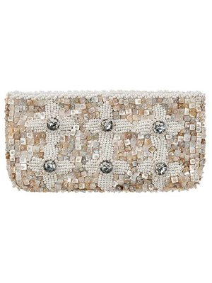 Babae Clutch Ivory Silver