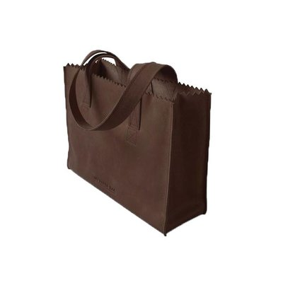 MYOMY My Paper Bag Handbag Dark Chocolate met rits