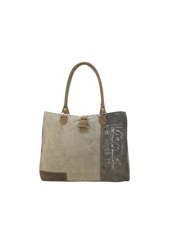 SUNSA Vintage schoudertas stone washed