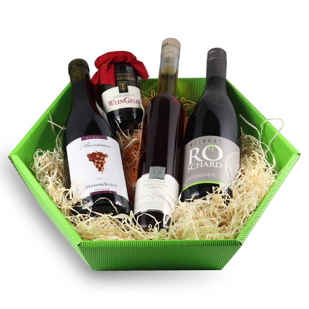 """Badischer Rotwein im Geschenkpaket: """"Markgräfler Spätburgunder"""" Geschenkkorb, Wein Geschenkidee"""
