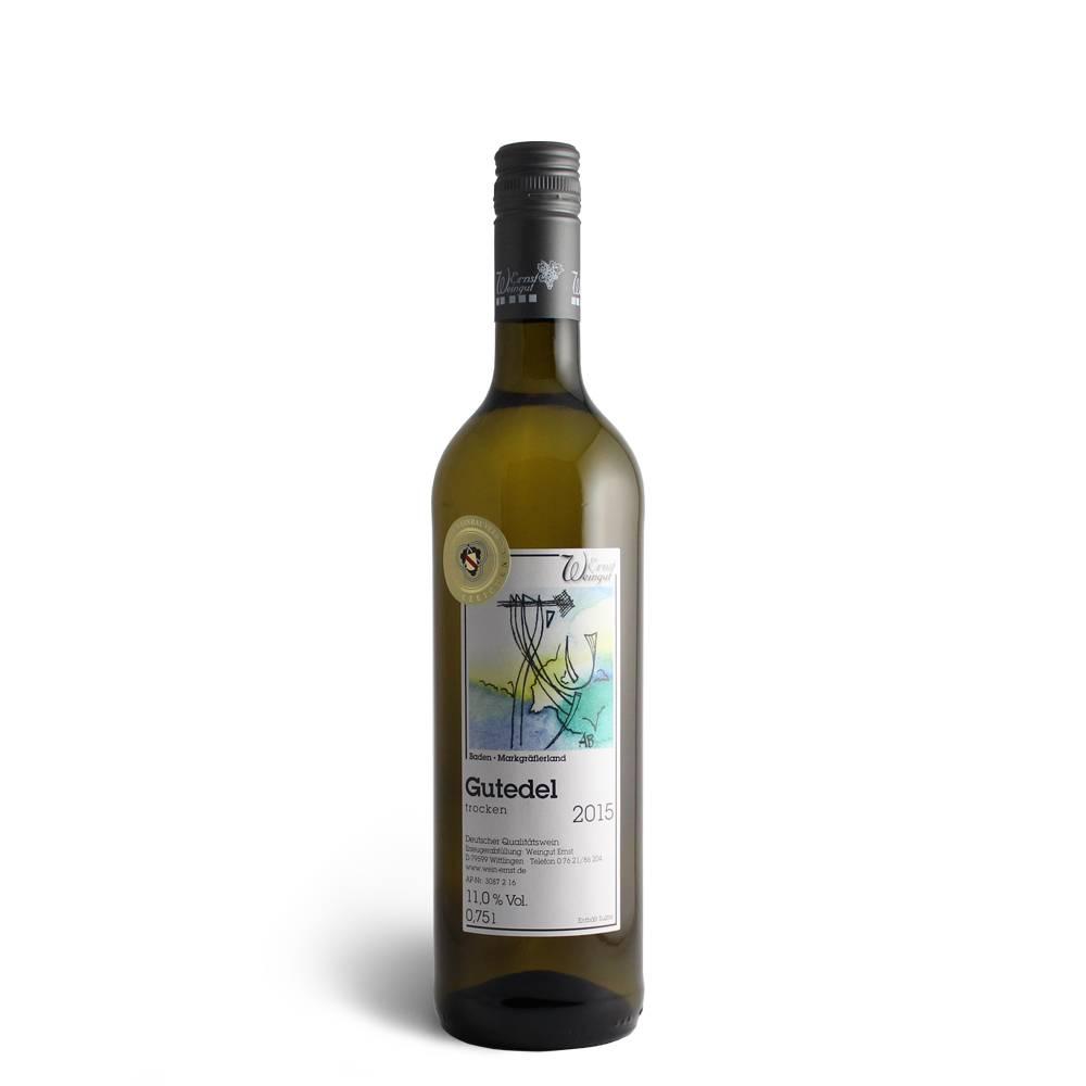 """Weingut Ernst Gutedel """"Wittlinger Steingäßle"""" QbA, trocken 2015 Gütezeichen (Badischer Weinbauverband)"""