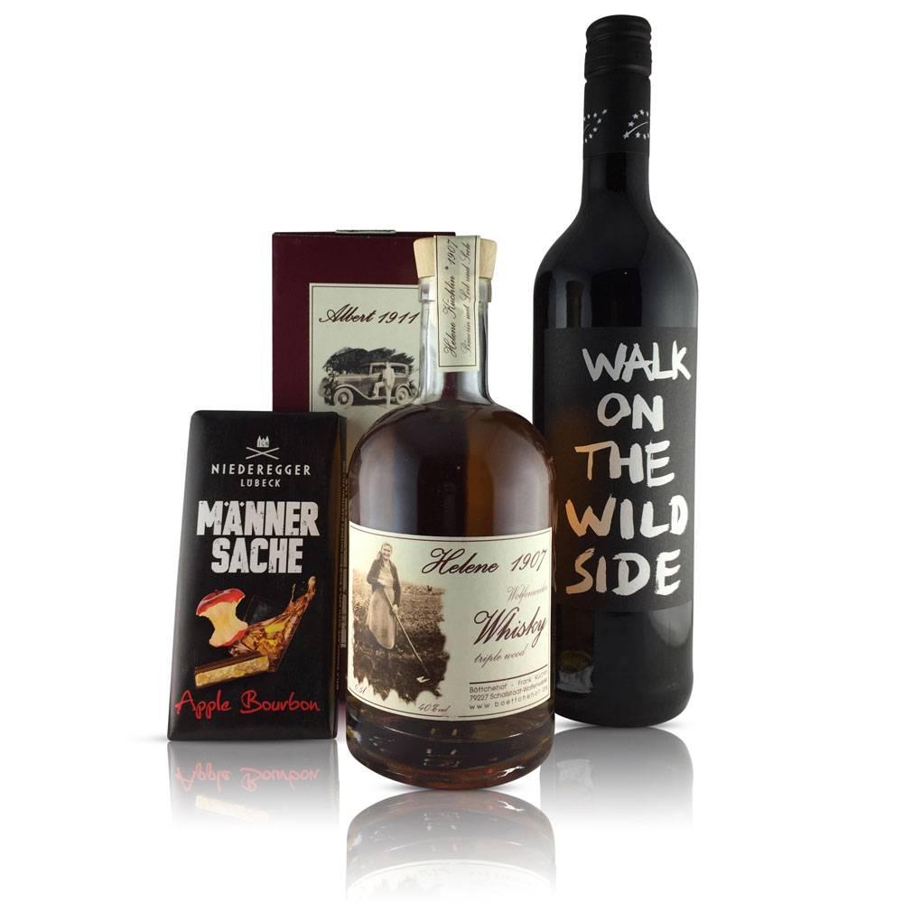 """""""MännerKISCHTLE"""" Geschenk-Set - Mit Markgräfler Whisky vom Böttchehof, Zähringer Rotwein-Cuvée & Männer-Schokolade"""