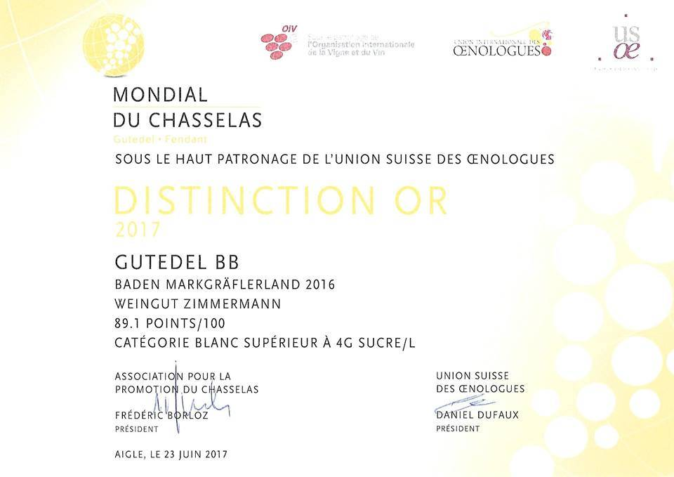 """Weingut Zimmermann (Schliengen) Gutedel BB Rhine Hill 2016 trocken """"Mondial du Chasselas 2017 GOLD"""" - Toller Spargelwein!"""