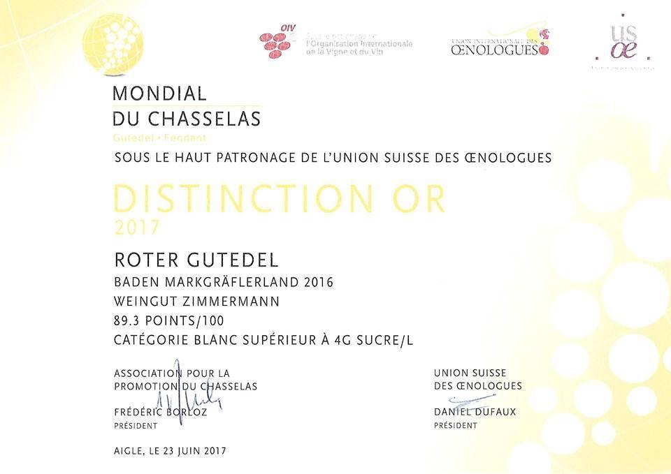 """Weingut Zimmermann (Schliengen) Roter Gutedel Rhine Hill """"Mondial du Chasselas 2017 GOLD"""" - Weingut Zimmermann"""