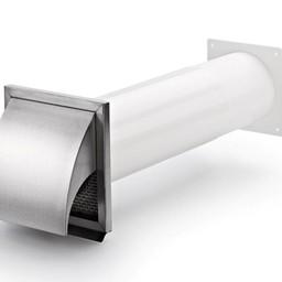 Naber Klima-Blow-E 125 muurdoorvoerunit, wit/Roestvrij staal