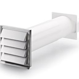 Naber Klima-E flow 125 muurdoorvoerunit, wit/Roestvrij staal