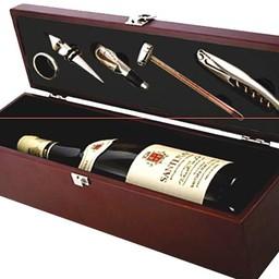 Wijnset in houten box  (6 delig)