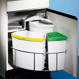 Afvalbak gescheiden inbouw Cabbi 3 plus lichtgrijs met biologisch deksel