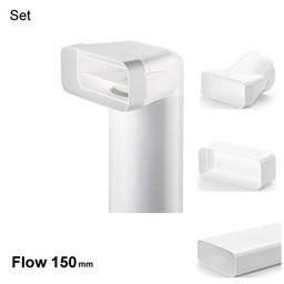 Naber Compair flow 150 Set met vlakke en ronde dampkapbuis wit