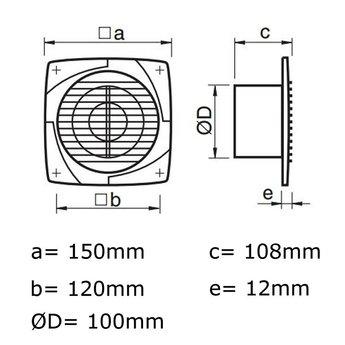Ventilator Badkamer/Toilet met timer-vochtsensor - IkShop