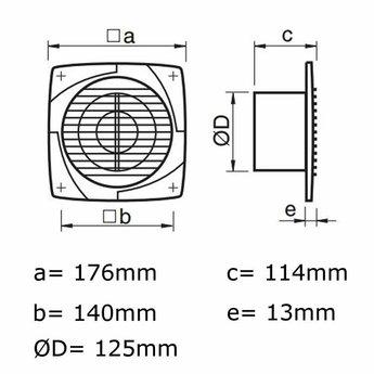 Badkamerventilator/toilet met timer en vochtsensor