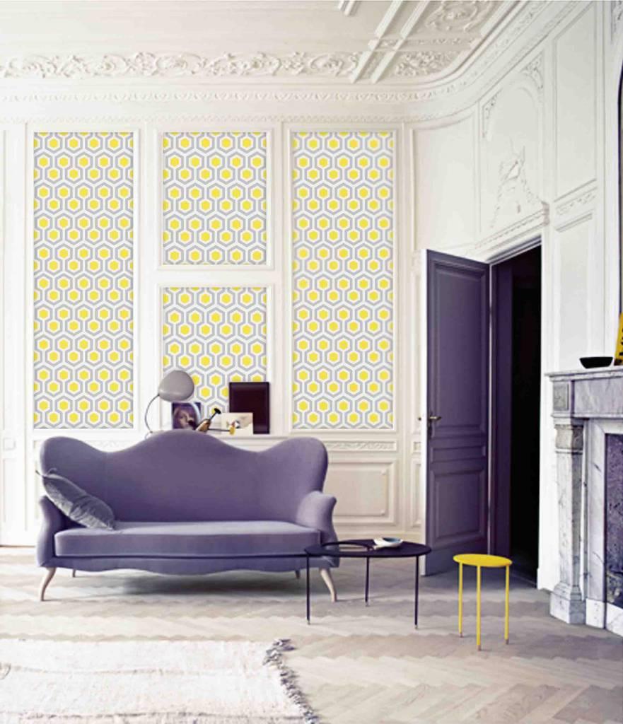 behangstrook arthur met grafische print in geel en grijs la boutique blanche. Black Bedroom Furniture Sets. Home Design Ideas
