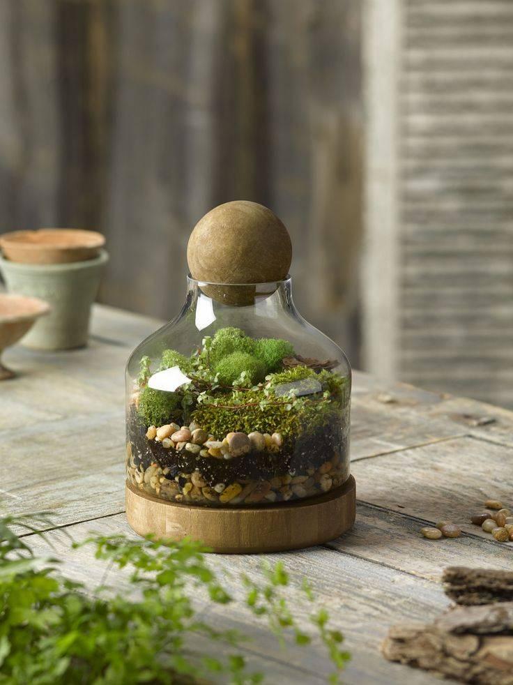 J-Line Glazen pot met houten steun