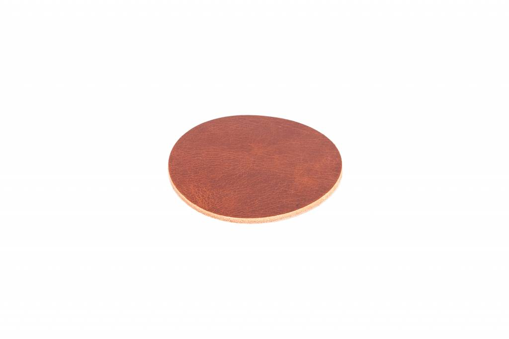 Double Stitched Leather coaster round - 4 colours