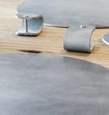 Double Stitched Lederen placemat rond Polished Concrete