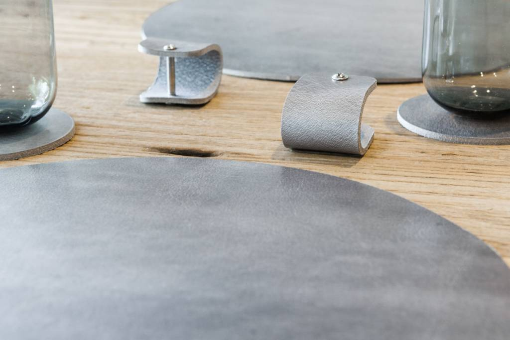 Double Stitched Leather placemat Polished Concrete