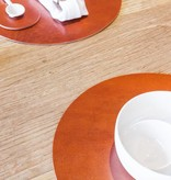 Double Stitched Round leather placemat cognac brown