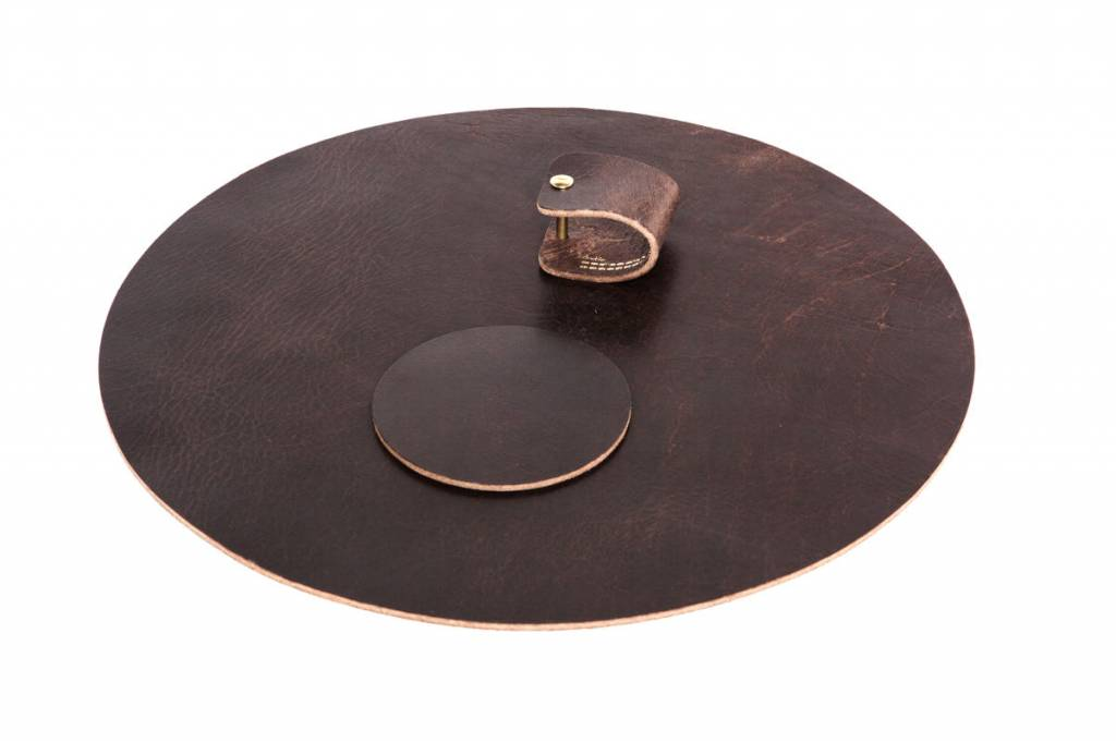 Double Stitched Leather placemat round chocolat brown