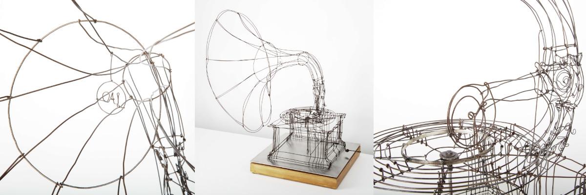 grammofoon in ijzerdraad