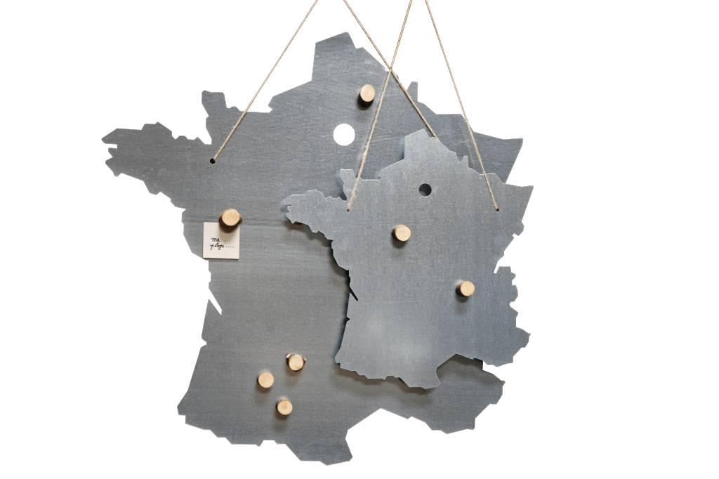 Un Esprit en Plus Landkaart Frankrijk, metalen magneetbord