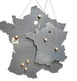 Un Esprit en Plus Metalen Schrijfbord landkaart Frankrijk