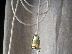 Un Esprit en Plus Draadlamp linnen klein
