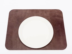 Double Stitched Leather placemat rectangular grey