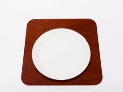 Double Stitched Leather placemat square cognac