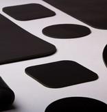 Double Stitched Vierkante lederen placemat Carbon Black