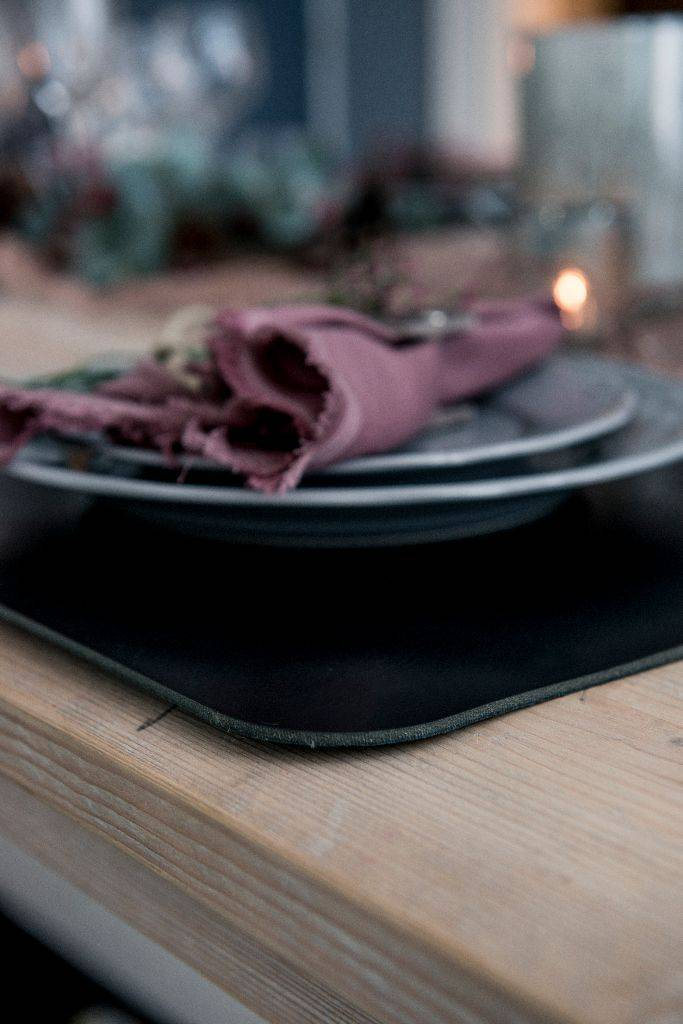 Double Stitched Leather table mat rectangular Carbon Black