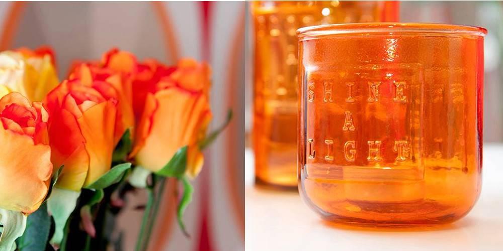 J-Line Theelichthouder Blossom oranje J-Line