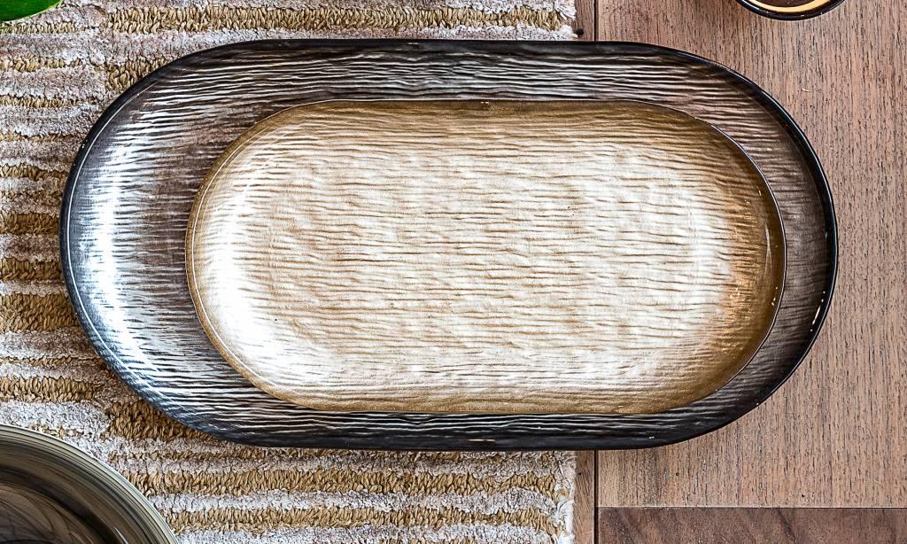 Dome Deco Ovaal bord van glas met bovenzijde in reliëf