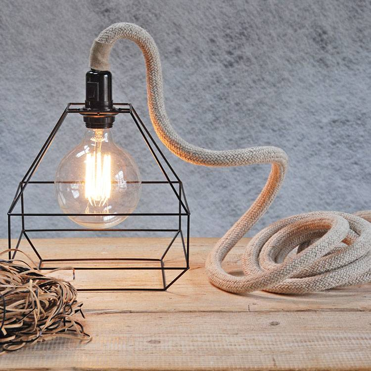 Un Esprit en Plus Flexible lamp fabric cable Linen woven