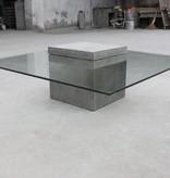 Lyon Béton Square coffee table concrete & glass