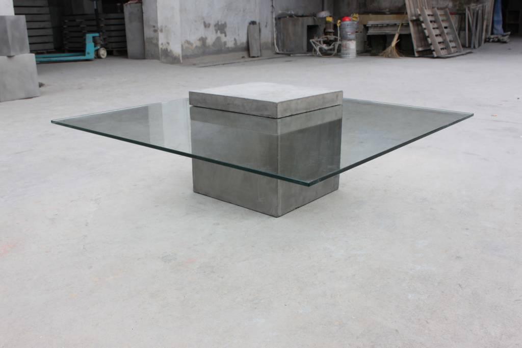 vierkante salontafel glas beton la boutique blanche. Black Bedroom Furniture Sets. Home Design Ideas