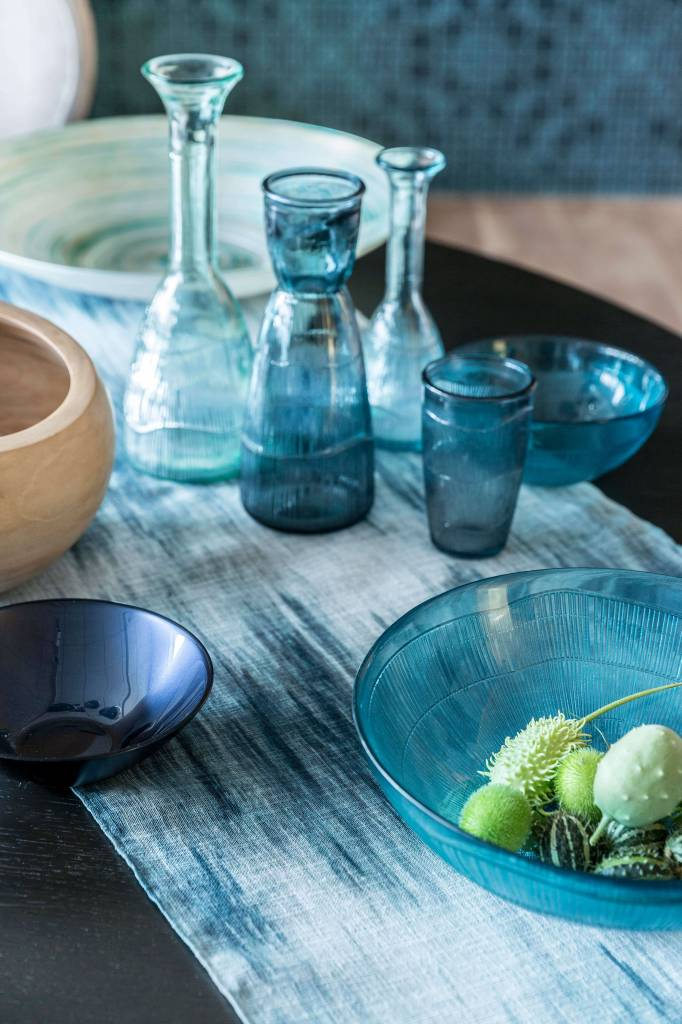 Dome Deco Waterglas blauw