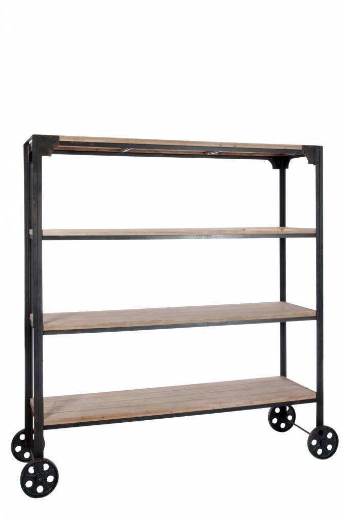 j line boekenkast metaal hout wielen