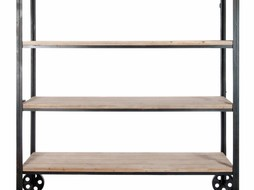 J-Line Rek metaal & hout wielen