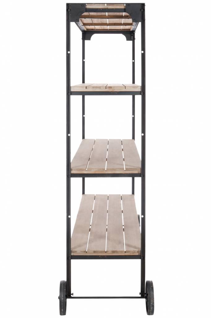 J-Line Boekenkast metaal & hout wielen